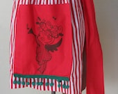 Vintage 1950's Red and White Striped Christmas Apron with Green Ball Fringed Pockets