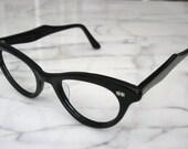 New Old Stock 1950s Glasses Eyewear Black Cat Eye Plastic Frames with Star Shields - Vintage but Like New