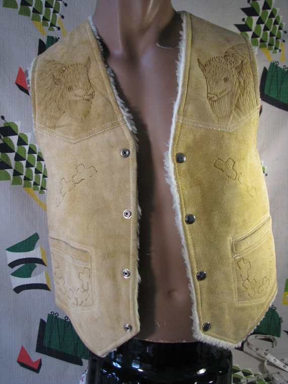 Vintage Suede Leather Sheepskin Shearling Vest - Buffalo Design - Mexico - Small