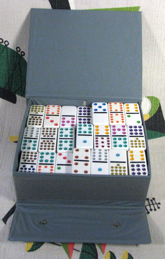 137 Dominoes by Cardinal - 137 Pieces in Box - Vintage Colorful Big Set Repurpose for Jewelry Assemblage Art