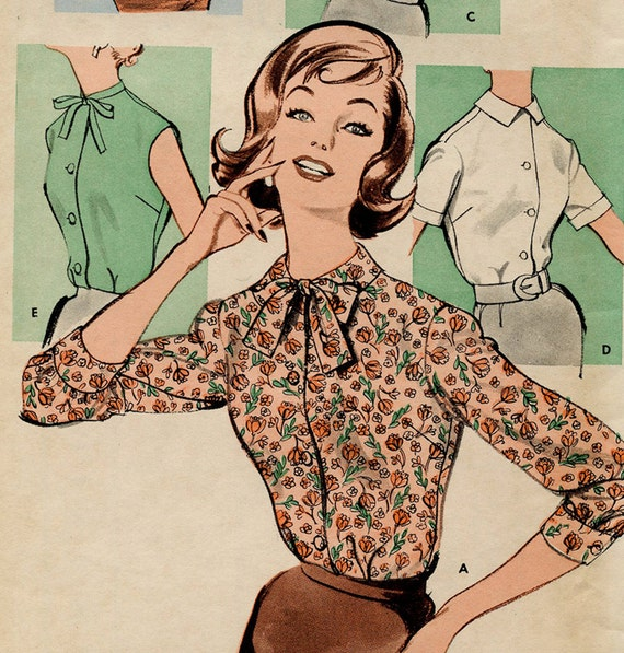 Vintage Butterick 9405 Sewing Pattern - Misses Blouse 5 Views - Complete  Uncut - 1950s 1960s
