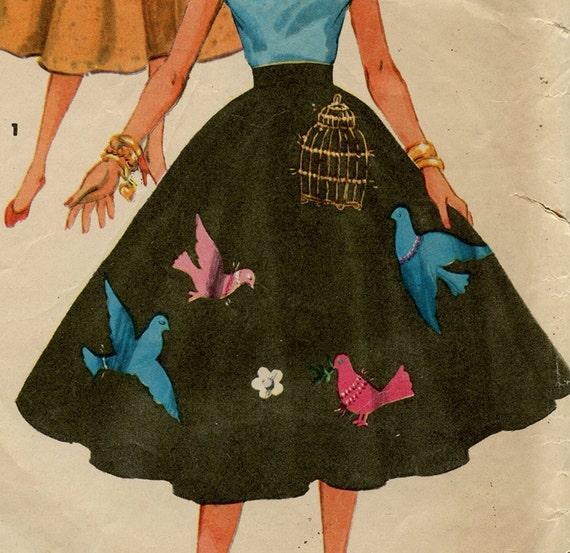 Vintage Simplicity Sewing Pattern 4884 Full Circle Skirt 1950s Complete With Transfers