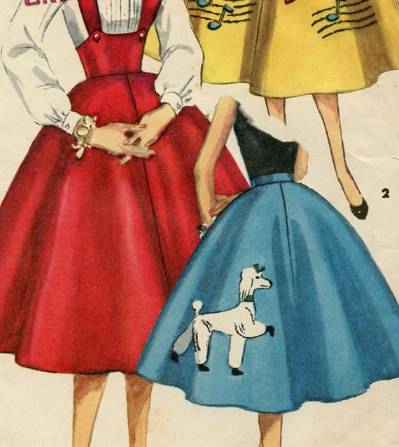 Reserved -Vintage Simplicity Sewing Pattern 1664 Full Circle Poodle Skirt or Jumper 1950s Complete With Transfers