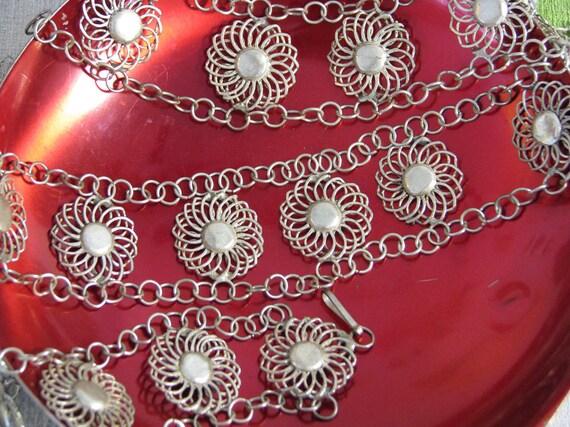 Vintage 1960s Bohemian Handmade OOAK Silver Metal Stylized Flower Link Belt Boho-Chic