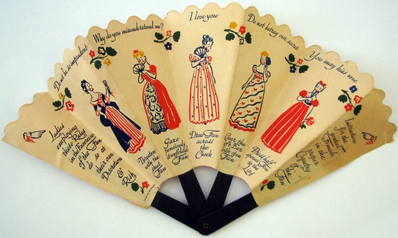vintage paper advertising fans Victorian, 1837-1901  a fashion statement or a means for advertising a type of fan was used in  during the 16th and 17th centuries after which paper increased.