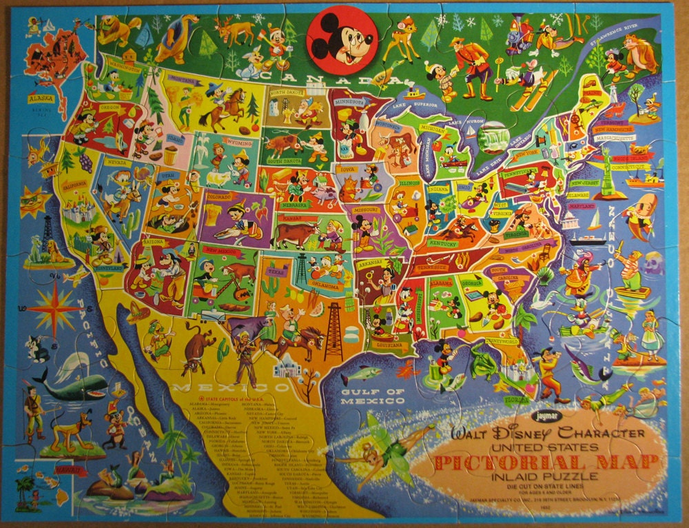 Walt disney jigsaw map of the usa from the 1960s 1000x766 mapporn walt disney jigsaw map of the usa from the 1960s 1000x766 gumiabroncs Image collections