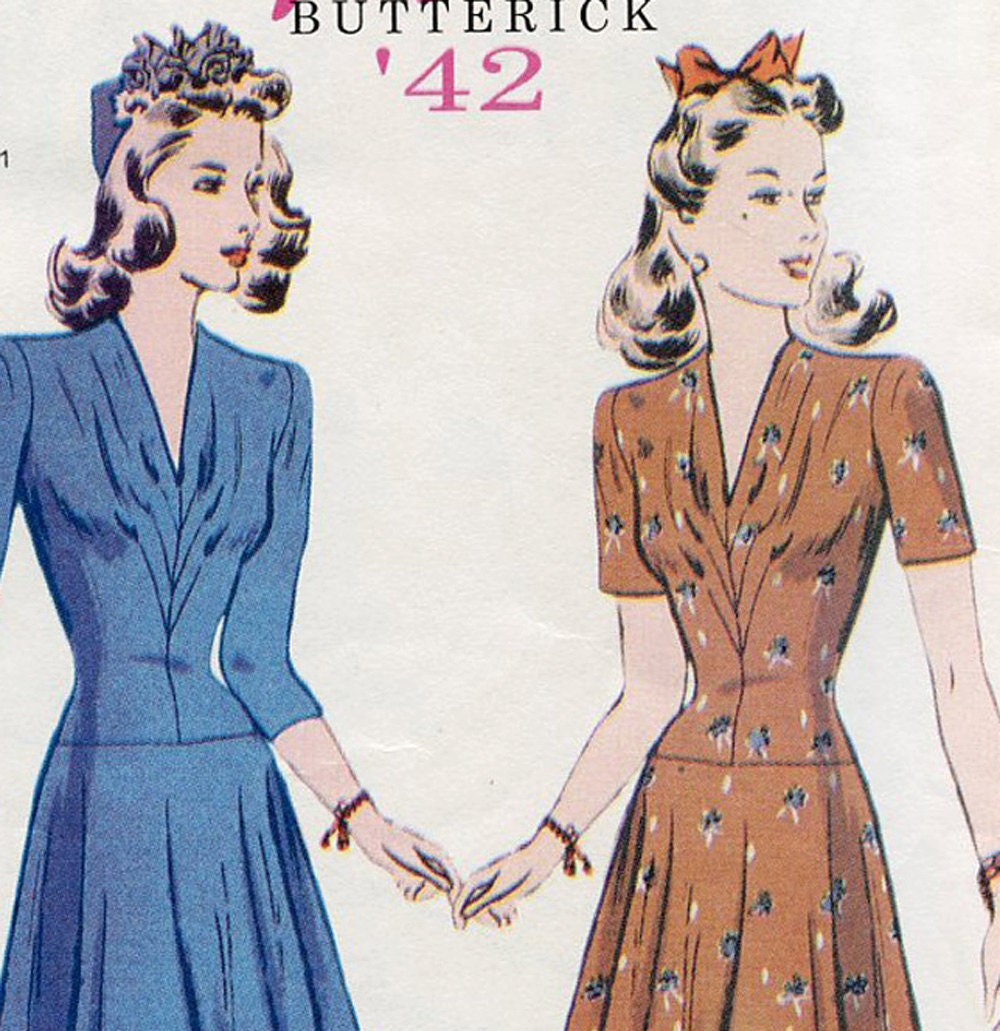 Retro Butterick 1942 Sewing Dress Pattern 6239 Re-issue Out Of