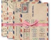 Digital Collage Sheet Download - Air Mail Postal Stamp Papers -  471  - Digital Paper - Instant Download Printables