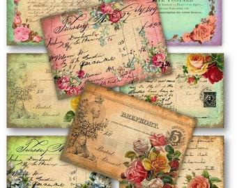 Digital Images - Digital Collage Sheet Download - Vintage Roses Postcards -  158  - Digital Paper - Instant Download Printables