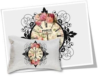 Digital Collage Sheet Download - Floral Paris Clock Image Transfer -  363  - Digital Paper - Instant Download Printables
