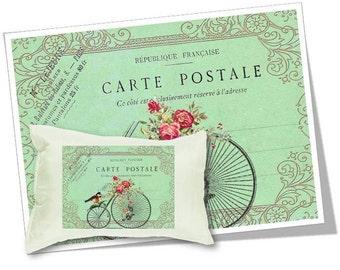 Digital Images - Digital Collage Sheet Download - Vintage Bicycle Carte Postale -  362  - Digital Paper - Instant Download Printables