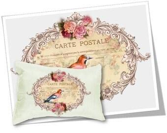 Digital Collage Sheet Download - Floral Bird Postcard Image Transfer -  358  - Digital Paper - Instant Download Printables