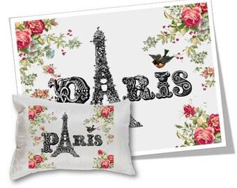 Digital Collage Sheet Download - Paris Eiffel Tower Image Transfer -  371  - Digital Paper - Instant Download Printables