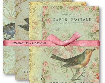 Digital Collage Sheet Download - French Postcards with Birds -  462  - Digital Paper - Instant Download Printables