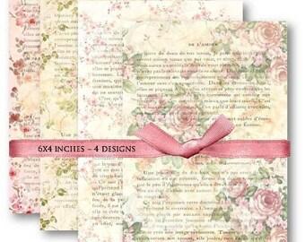 Digital Images - Digital Collage Sheet Download - Floral French Ephemera -  470  - Digital Paper - Instant Download Printables