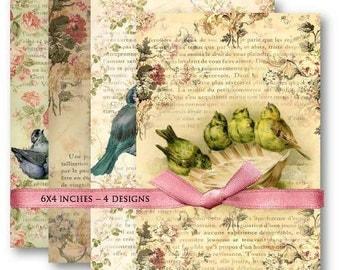 Digital Collage Sheet Download - Vintage Bird Backgrounds -  475  - Digital Paper - Instant Download Printables