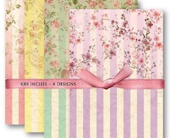 Digital Images - Digital Collage Sheet Download - Floral Stripe Backgrounds -  478  - Digital Paper - Instant Download Printables