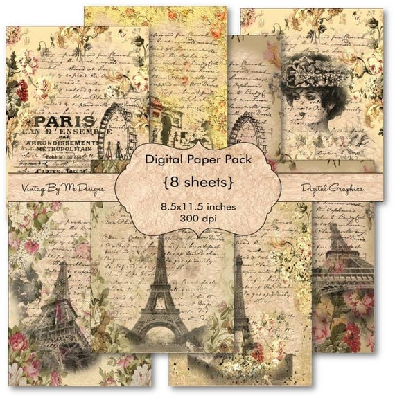 French digital scrapbook paper pack paris eiffel tower digital - Magasin de scrapbooking paris ...