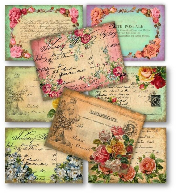 Digital collage sheet download vintage roses postcards for Vintage sites like etsy