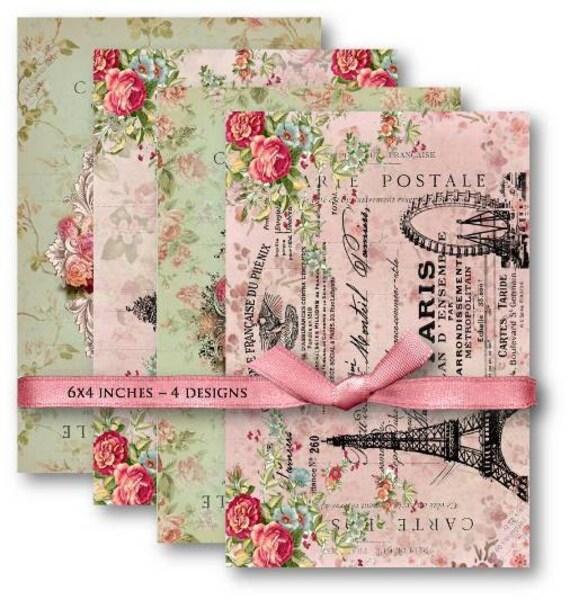 Digital Collage Sheet Download - Eiffel Tower Carte Postale -  483  - Digital Paper - Instant Download Printables