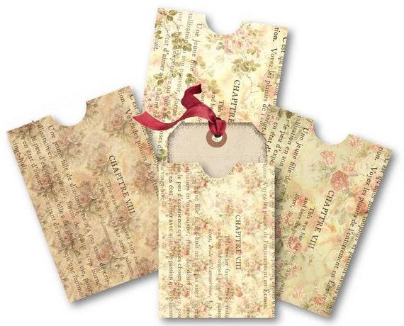 Envelopes - Vintage Floral French Ephemera Digital Collage Sheet Scrapbooking Supplies Set No. 488