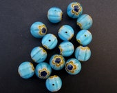 Millefiori Beads -- Aqua With Yellow, Blue and White Flowers, 10 mm - 15