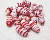 Red and White Striped Lampwork Beads -- Large Striped Ovals - 19 beads