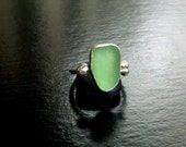 Sea Glass Ring Light Green in Fine and Sterling Silver