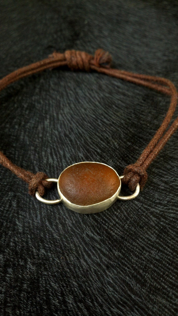 Sea Glass Beach Bracelet Amber Brown Sterling Silver and Fine Silver