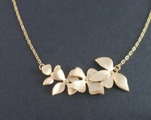 Triple Orchid Flower 14K Gold filled necklace-lovely everyday jewelry.Gift idea