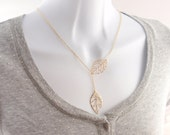 Leaf Lariat - with 14K gold filled chain