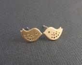 Tiny Little Bird Gold Earring-SILVER POST-cute,lovely gift idea