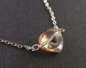 Golden shadow crystal necklace - with stering silver chain