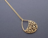 Leaf Net Drop Necklace - with 14K gold filled chain