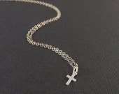 Tiny Sterling Silver Cross Necklace-simple everyday jewelry