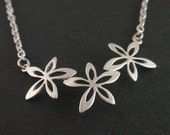 Triple Flower Sterling Silver Necklace-simple everyday jewelry-Bridesmaid,Wife, Girlfriend, Mothers Birthday Gift Idea