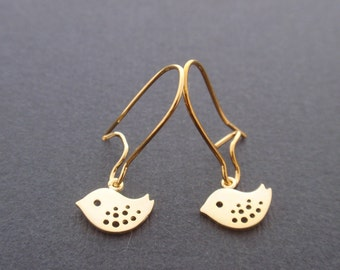 Tiny Little Bird Earring- Gold plated ear wires