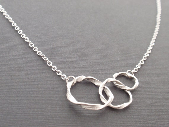 Triple Ring Sterling Silver Necklace - simple everyday necklace - Symbolic,Casual,Modern,Sweet Gift Idea