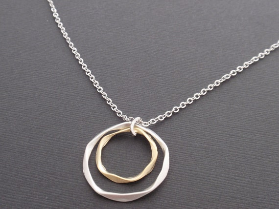 Double twisted rings Sterling silver Necklace - simple everyday jewelry - Symbolic,Casual,Modern,Sweet Gift Idea