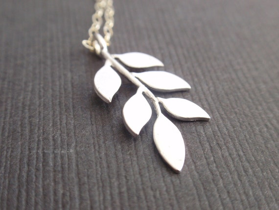 Six Leaves Sterling Silver necklace-simple everyday jewelry- Bridesmaid,Wife, Girlfriend, Mothers Gift Idea