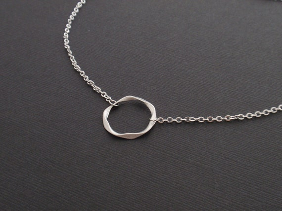 Twisted rings necklace - with sterling silver chain - modern simple necklace, minimal everyday jewelry