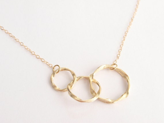Triple ring 14K Gold Filled necklace - simple necklace, everyday jewelry - Bridesmaid, Wife, Girlfriend, Mother Gift Idea