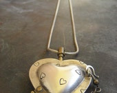 "SALE Thomas Mann sterling and bronze chamber heart techno romanic locket necklace 32"" long"