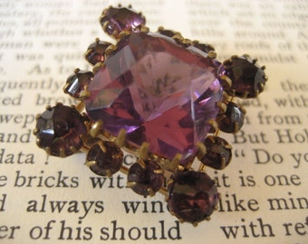 CLEARANCE SALE Victorian amethyst glass and brass c clasp brooch - 1800's brooch - purple glass brooch - Victorian brooch - open back