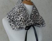 Five Dollar Sale...Fake Fur Satin Bow Tie Neck Scarf Collar Black