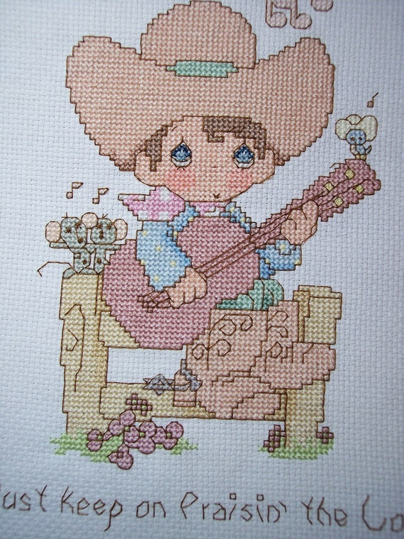 Sale Precious Moments Cowboy With Guitar Cross Stitch