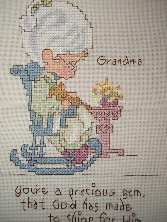 Precious Moments Grandma In Rocker Cross Stitch