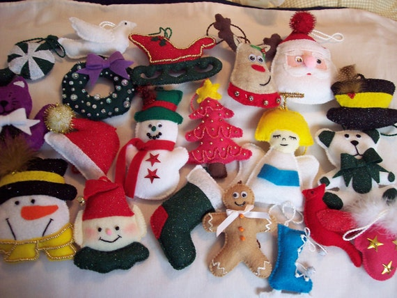 Felt  Christmas Ornaments set of 20