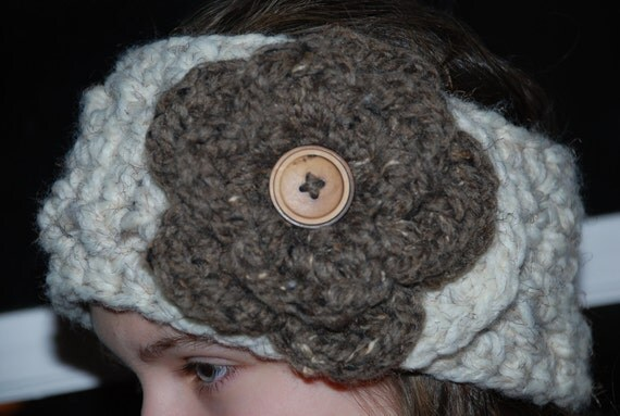 Crochet Patterns Head Warmers : Pattern Crochet Head Warmer with Flower by StillWaterTreasures