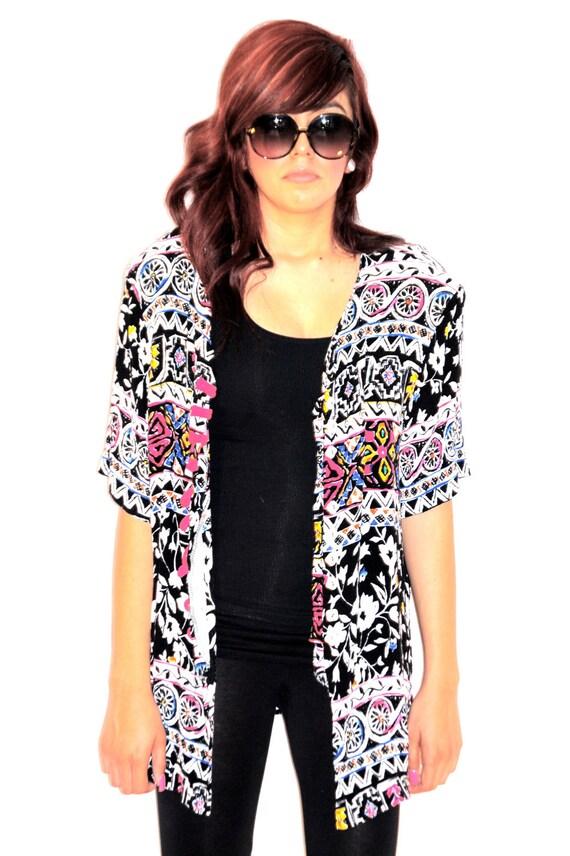 30% off use code JUN30 at checkout - Vintage 1980's Tribal Print Kimono